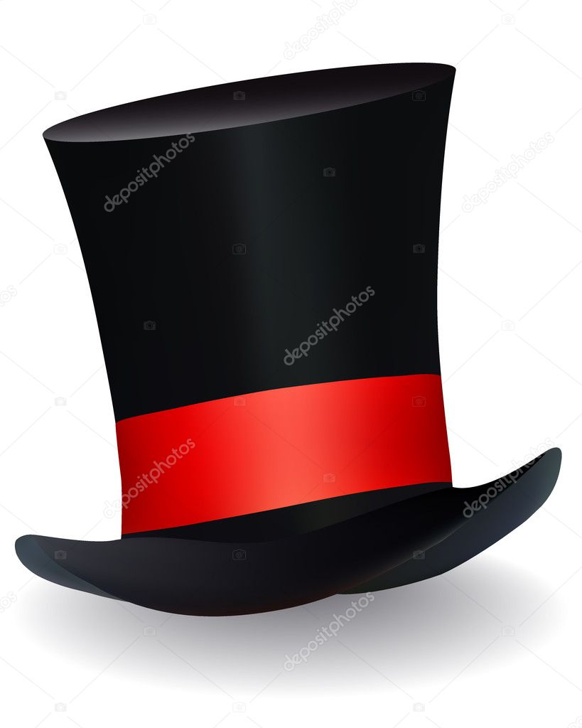 Hat hat with a red ribbon on white background  Stock Vector #8797388