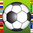 Royalty-Free Stock Immagine Vettoriale: Soccer ball on the background of flags