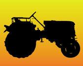Svart siluett av ratten i traktorn — Stockvektor