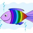 Rainbow fish, covered with symbols, abstract pattern in vector — Stock Vector
