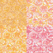 Set of four seamless pattern with pink roses — Stockvektor