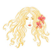 Vector portrait of a girl with orchid flowers. — Stock Vector