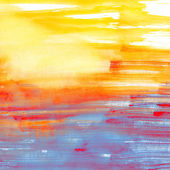 Blue and orange watercolor background — Photo