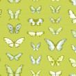 Green seamless highly detailed background with butterflies — Stock Vector
