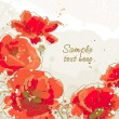 Background with 5 flower of poppy — Vector de stock