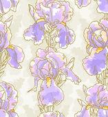 Seamless pattern with iris — Stock Vector