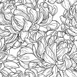 Seamless black and white pattern with chrysanthemum — Imagens vectoriais em stock