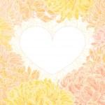 菊とロマンチックなベクトル ハート フレーム — ストックベクタ