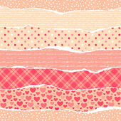Torn wrapping paper with hearts. — Stock Vector