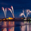 Fireworks over King John Castle - Stock Photo