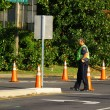 Stock Photo: Officer Rerouting traffic