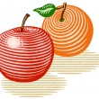 Apple and Orange woodcut style - Stock Vector