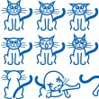 Nine common expressions of a cat — Stock Vector