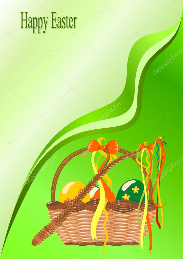 Basket with easter eggs — Stock Vector #8591380