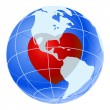 Red heart of blue earth planet - 