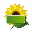 Vector sticker and sunflower — Stock Vector