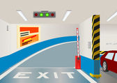 Underground parking garage. Vector illustration — Stock Vector