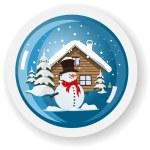 Vector snowman sticker — Stock Vector