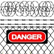 Wire fence with barbed wires — Stock Vector