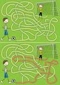 Football maze — Stock Vector