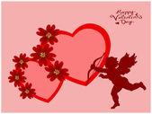 Valentine's hearts and Cupidon — Stockfoto