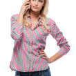 Blonde woman making a call in studio — Stock Photo #8318638