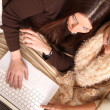 Stock Photo: Friends planning winter Holidays online