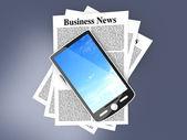 Smartphone w biznes news — Zdjęcie stockowe