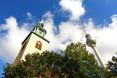 The TV Tower and the Marienkirche in Berlin — Stock Photo