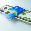 Credit Card and Cash — Stock Photo