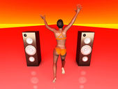 Jumping in Music — Stock Photo