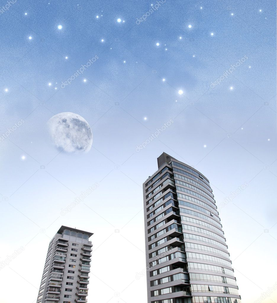 Image composition. A future science fiction city. — Stock Photo #8826494