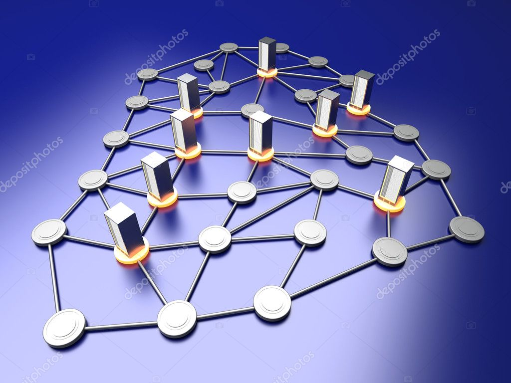 Connected cloud of 19 inch server towers. 3D rendered illustration. — Stock Photo #8963374