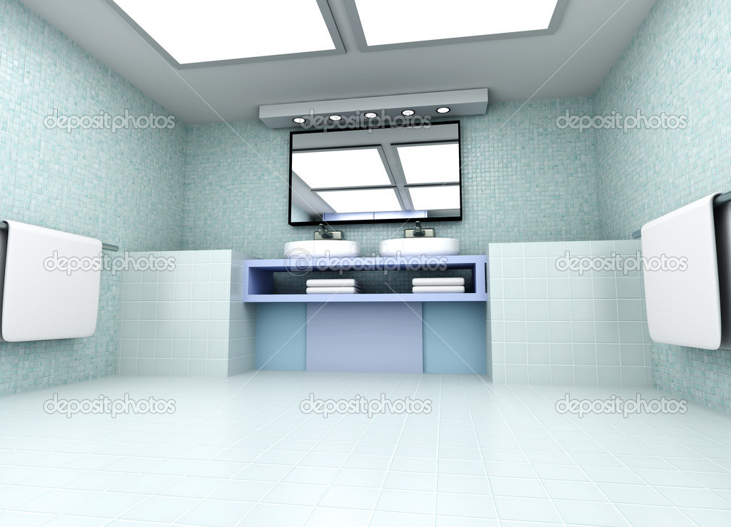 3D rendered Illustration. Modern Bathroom interior visualisation. — Stock Photo #9414492