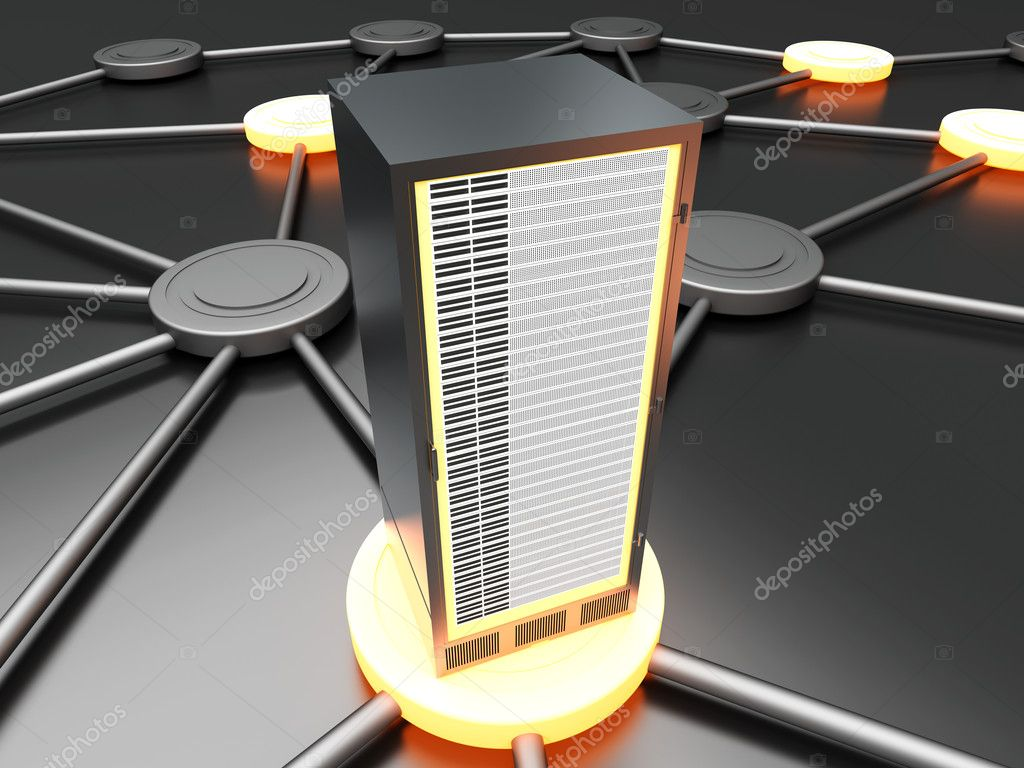 Connected cloud of 19 inch server towers. 3D rendered illustration.  Stock Photo #9772604