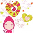 Fairy Valentines girl  with hearts, seamless vector pattern. — Stock Vector