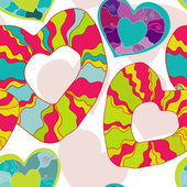 Happy vector seamless pattern with hearts — ストックベクタ