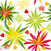 αστεία μοτίβο με ευτυχής λουλούδια και καρδιές αγάπη. — Διανυσματικό Αρχείο