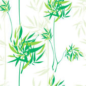 Pattern with green flowers and forest — Stock Vector