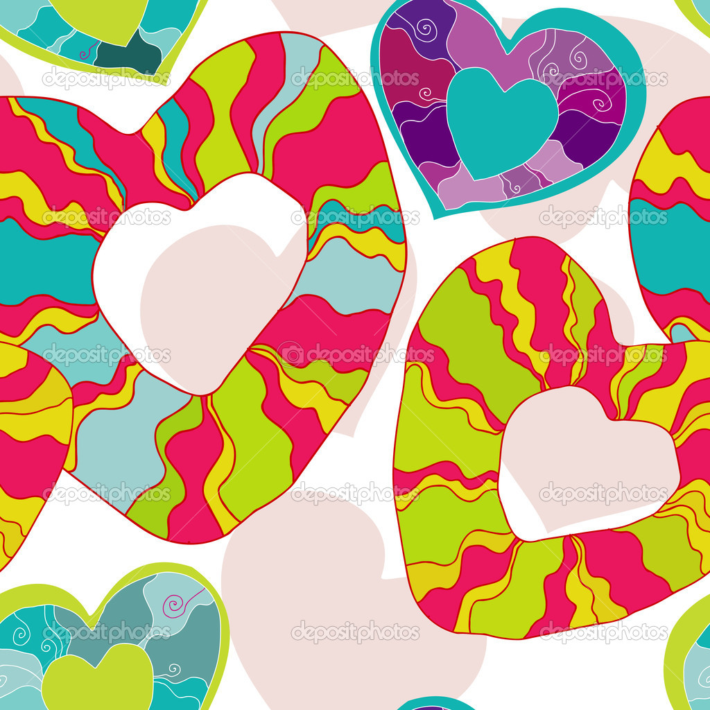 Happy vector seamless pattern with hearts  — Stock Vector #8699505