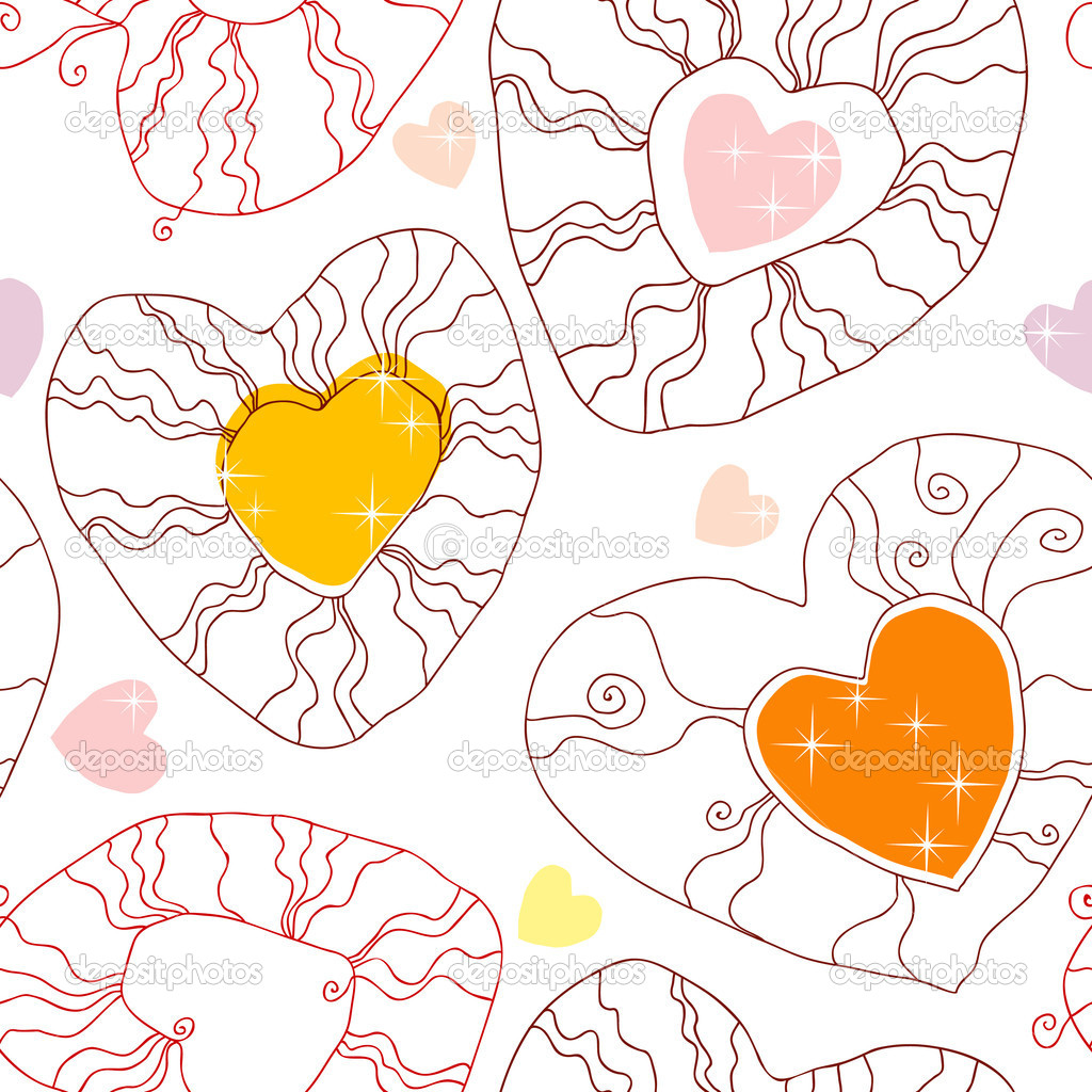 Vector seamless pattern with hearts  — Stock Vector #8700014
