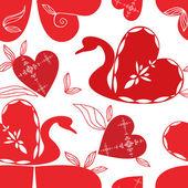Love swan pattern, holidays vector. — Stock Vector