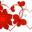 Love heart symbols with butterflay and flowers, vector. — Vetorial Stock