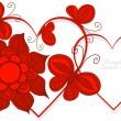 爱的心符号与 butterflay 和鲜花,矢量 — 图库矢量图片