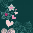 Abstract flowers with hearts, hand-drawn vector card — Stock Vector