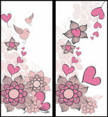 Romantic seamless cards with hearts, valentine vector. — Stock Vector