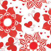 Retro Style Valentine Pattern with butterfly and flowers — Stock Vector