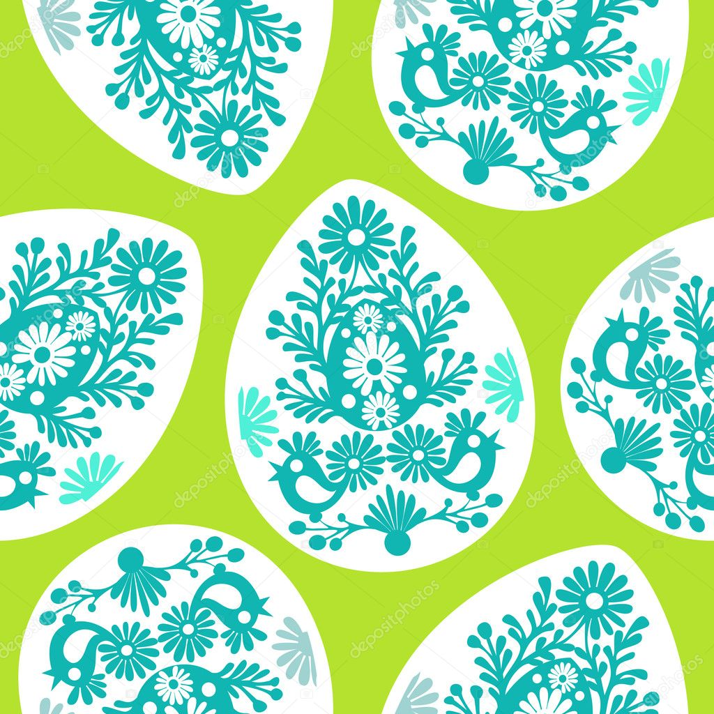 Colored Easter egg pattern with floral and birds — Stock Vector ...