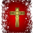 A gold cross on a christmas background with a snowy border - Stock Vector