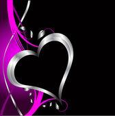 Un purple hearts valentin fond — Vecteur